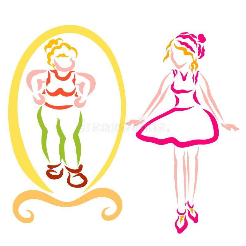 在镜子旁边的苗条女孩,镜子的肥胖妇女 向量例证