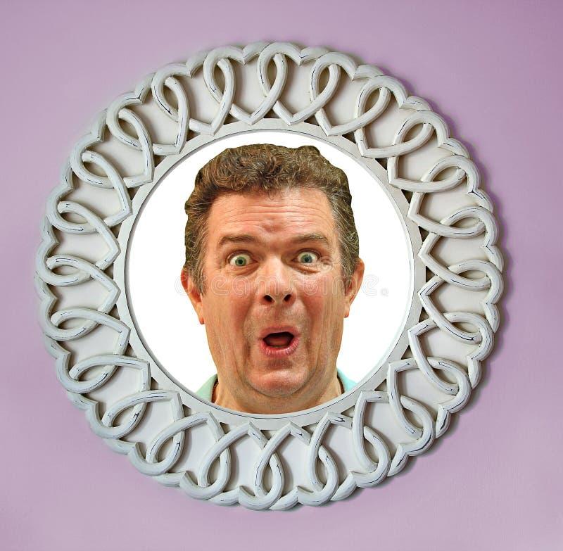 在镜子的面孔 库存图片