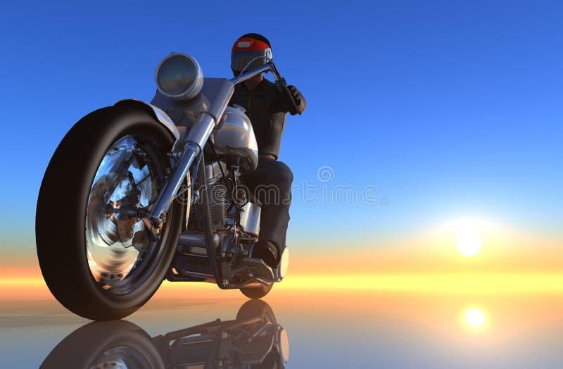 在镜子背景的摩托车 库存例证