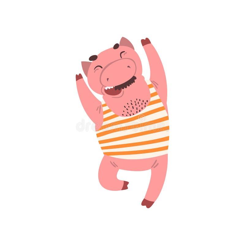 在镶边汗衫跳跃的传染媒介例证的愉快的微笑的男性猪漫画人物在白色背景 皇族释放例证