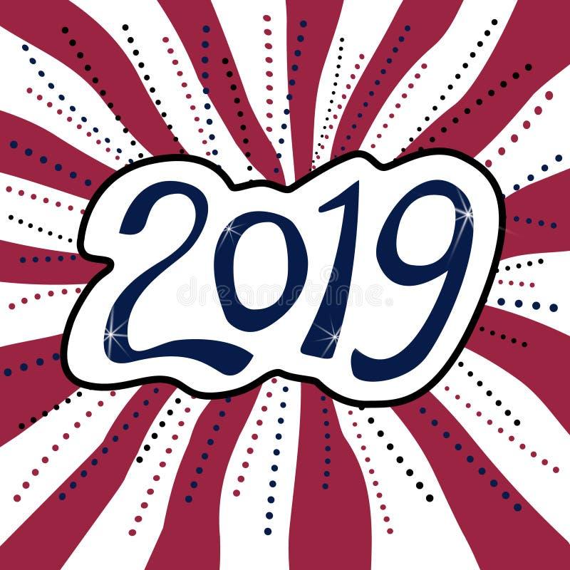 在镶边背景的新年快乐2019年贴纸 免版税库存图片