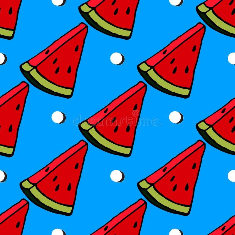 在镶边蓝色背景,无缝,样式,墙纸的逗人喜爱的红色西瓜切片设计 皇族释放例证
