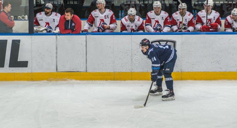 在长凳前面的冰球球员 免版税库存图片
