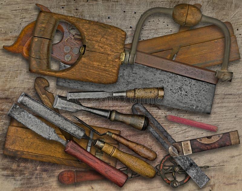 在长凳的木材加工工具 免版税库存图片