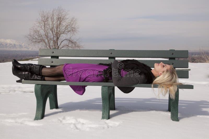 Download 在长凳雪放置的妇女礼服 库存照片. 图片 包括有 表达式, 紫色, 全能, 放置, 情感, 姿势, 头发 - 30326610
