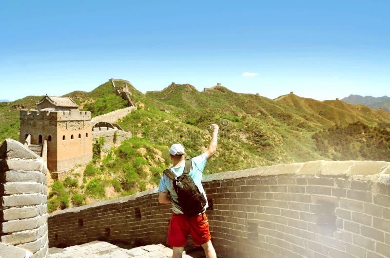 在长城中国的夏天视图 免版税库存图片