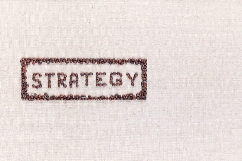 在长方形里面的词战略全部做了使用从上面被射击的咖啡豆,排列到左边 免版税图库摄影