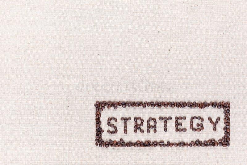 在长方形里面的词战略全部做了使用咖啡豆从上面被射击,排列在右下 库存图片