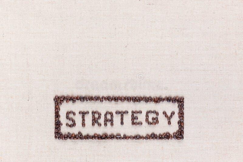 在长方形里面的词战略全部做了使用咖啡豆从上面被射击,排列在底部 图库摄影