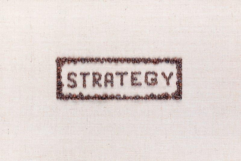 在长方形里面的词战略全部在中心做了使用从上面被射击的咖啡豆,排列 免版税库存图片
