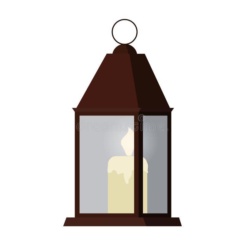 在长方形金属烛台里面的蜡烛光有在白色背景隔绝的玻璃墙的 库存例证