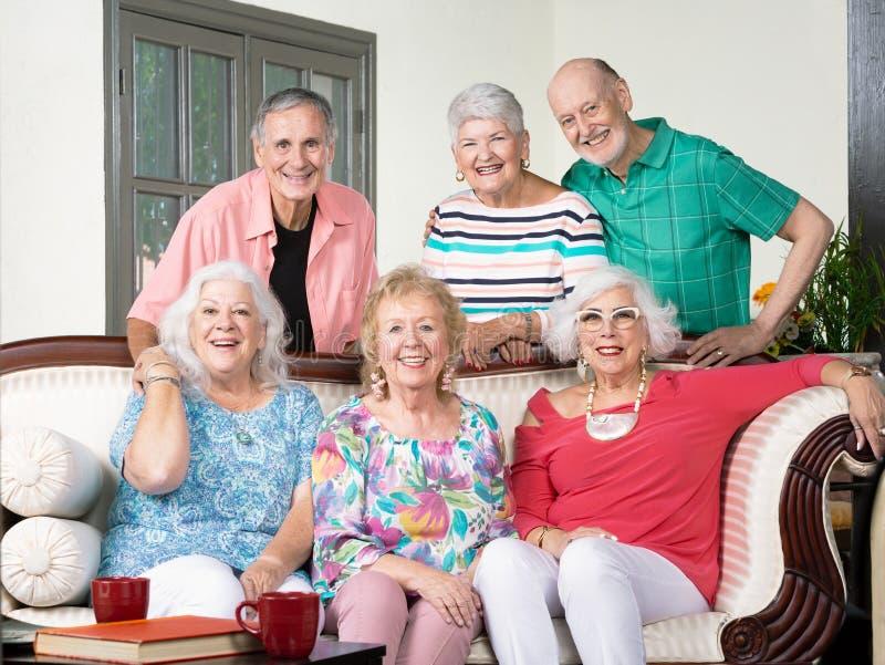 在长沙发附近的六个资深朋友 库存图片