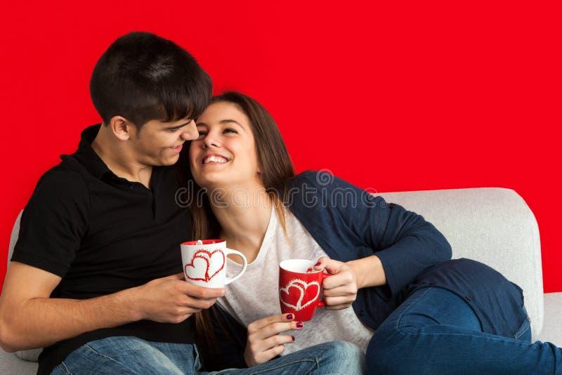 在长沙发饮用的咖啡的逗人喜爱的夫妇。 库存照片