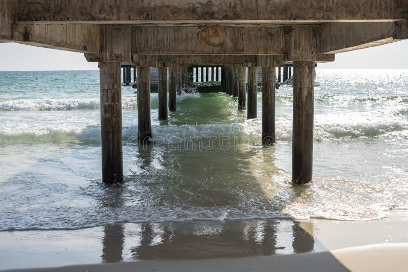 在长的码头下的海水和海滩视图 海洋旅行设施浪漫视图 在热带海滩的晴天 免版税库存照片