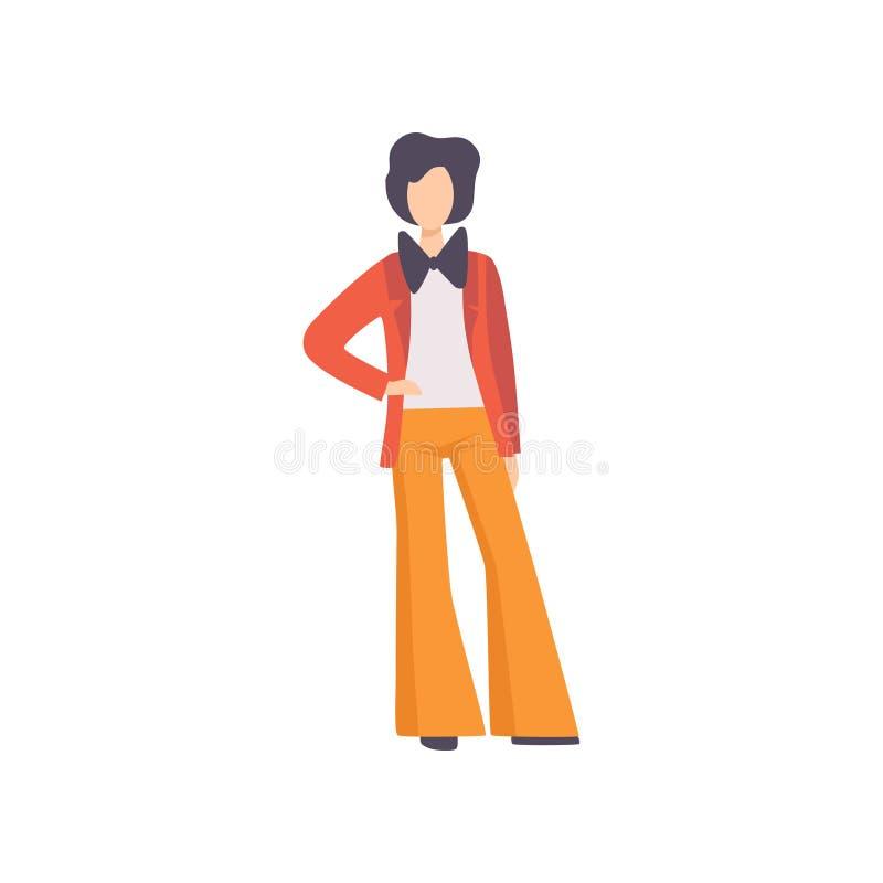 在长裤、夹克和蝶形领结打扮的年轻人,时装的人从在a的20世纪70年代传染媒介例证 向量例证