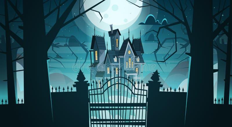 在门后的哥特式城堡在月光可怕大厦 库存例证