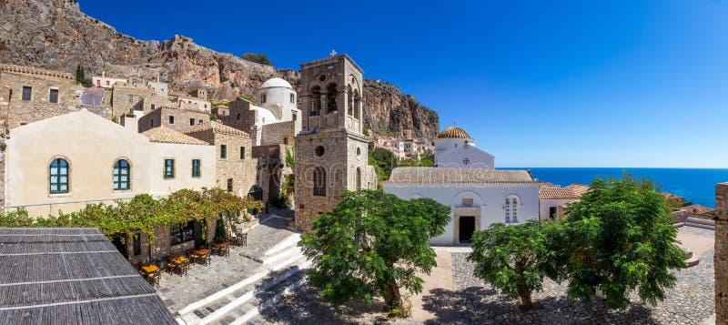 在门希腊之上希腊安置狮子中世纪monemvasia附注城镇传统venician 免版税库存图片