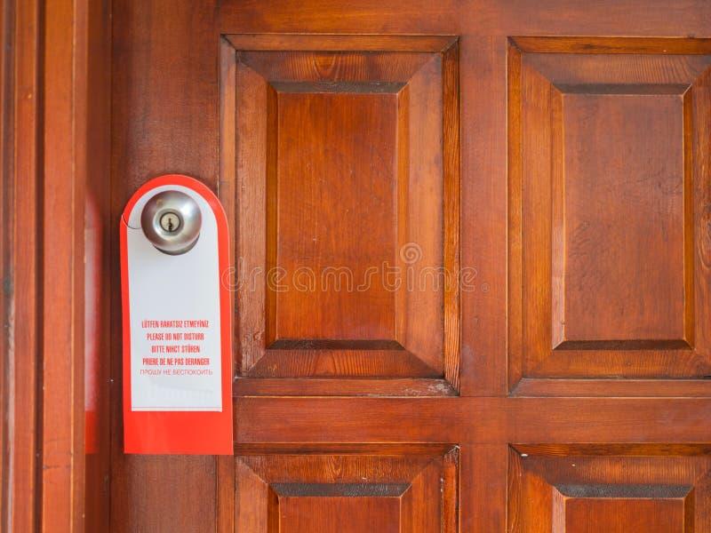 在门把手的标志不干扰 免版税库存照片
