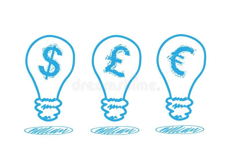 在闪亮指示的货币图标 皇族释放例证