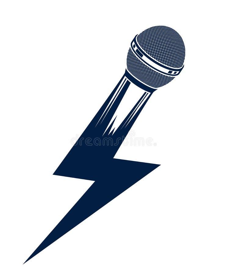 在闪电,mic形状的话筒喜欢螺栓,超大事件概念,斥责争斗押韵音乐,直立的卡拉OK演唱唱歌或 皇族释放例证