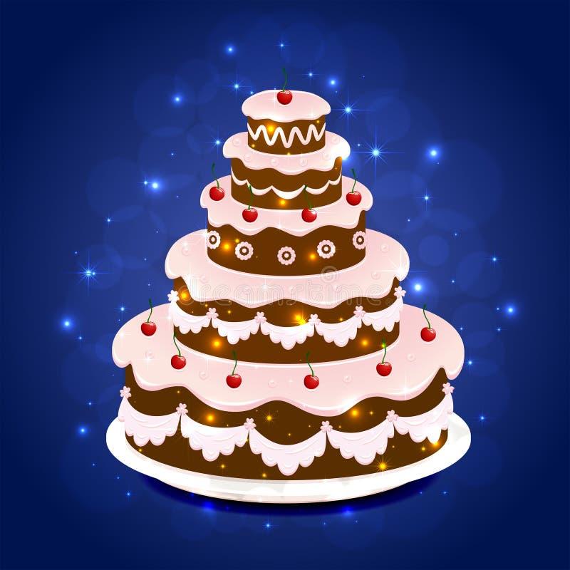 在闪耀的背景的生日蛋糕 库存例证