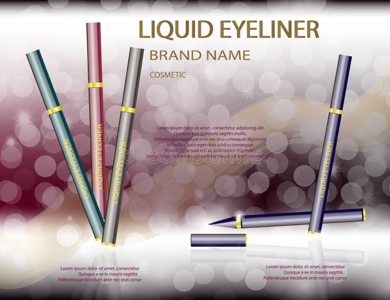 在闪耀的迷人的液体眼线膏影响背景 库存例证