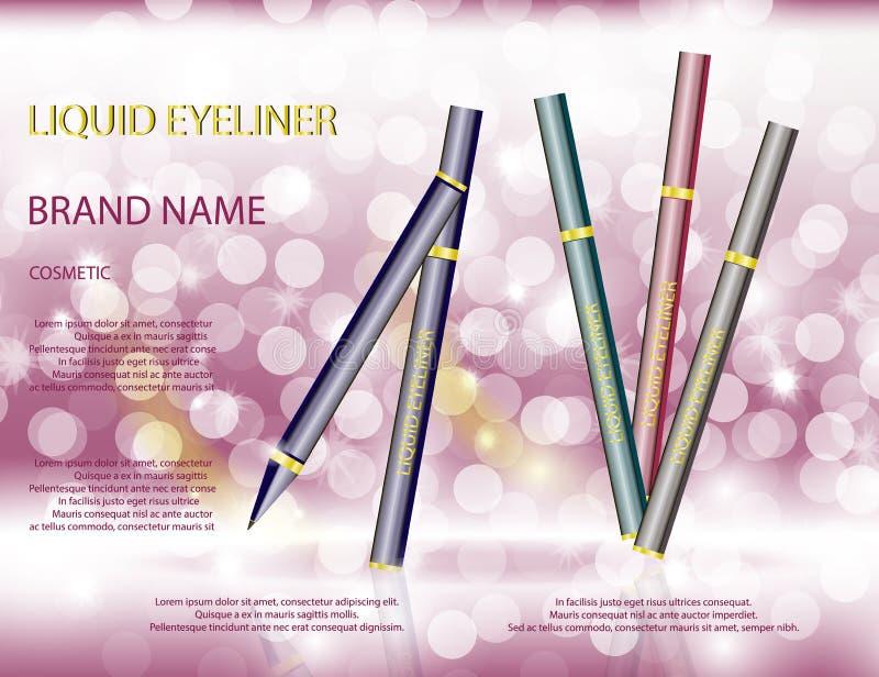 在闪耀的迷人的眼线膏笔影响背景 向量例证