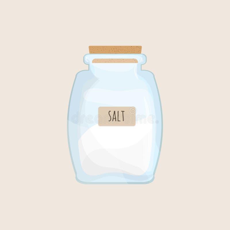 在闭合的玻璃瓶子存放的盐被隔绝在白色背景 水晶调味品,食物香料,矿物烹调成份 向量例证