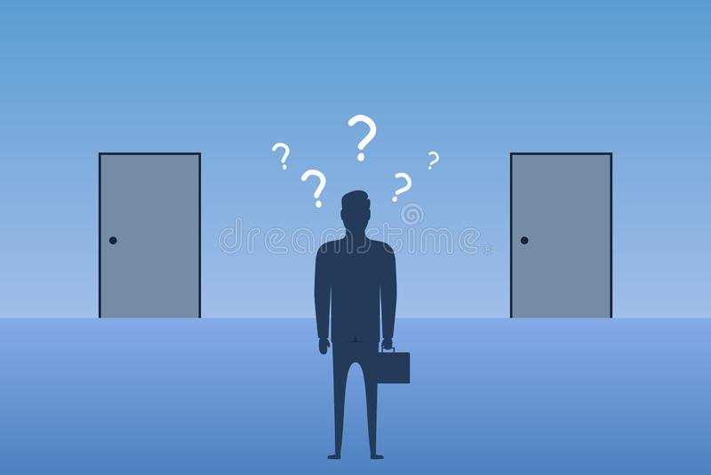 在闭合的门前面的商人身分和选择在哪个门输入 选择的概念在事务的最佳的方式 向量例证
