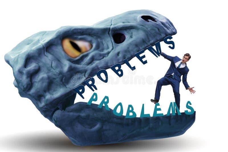 在问题的下颌的商人 免版税库存照片