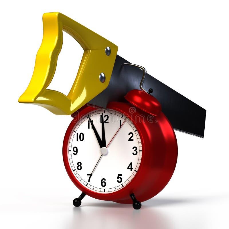 在闹钟的引形钢锯,隔绝在白色 向量例证