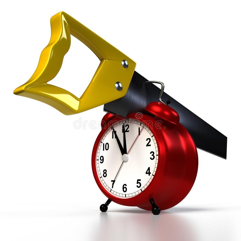 在闹钟的引形钢锯,隔绝在白色 皇族释放例证
