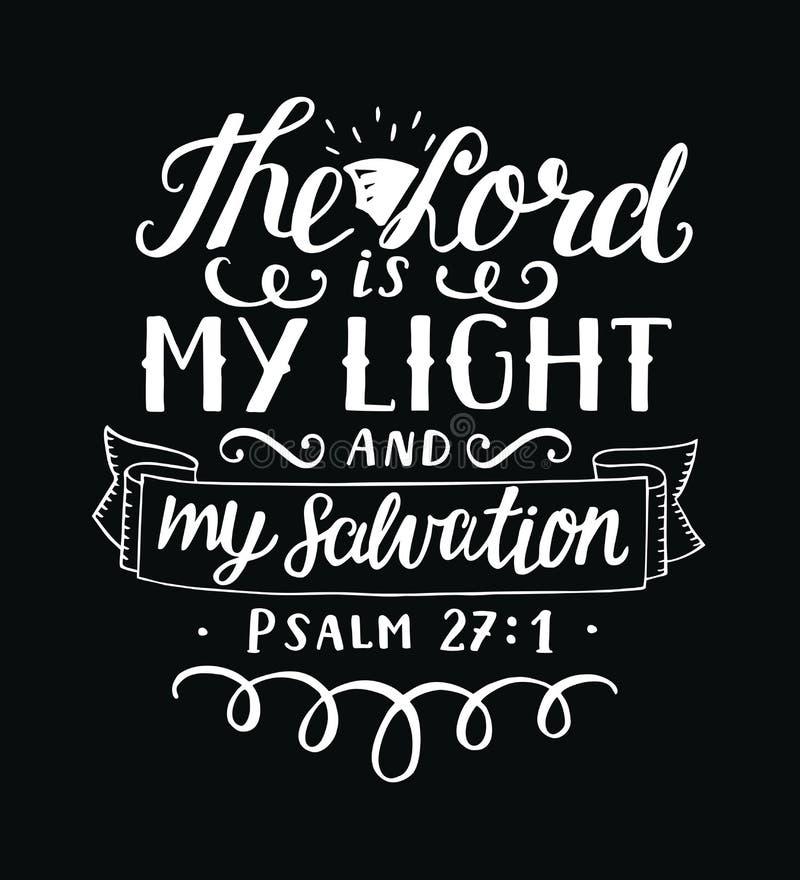 在阁下上写字的手是我的光和我的救世在黑背景 库存例证