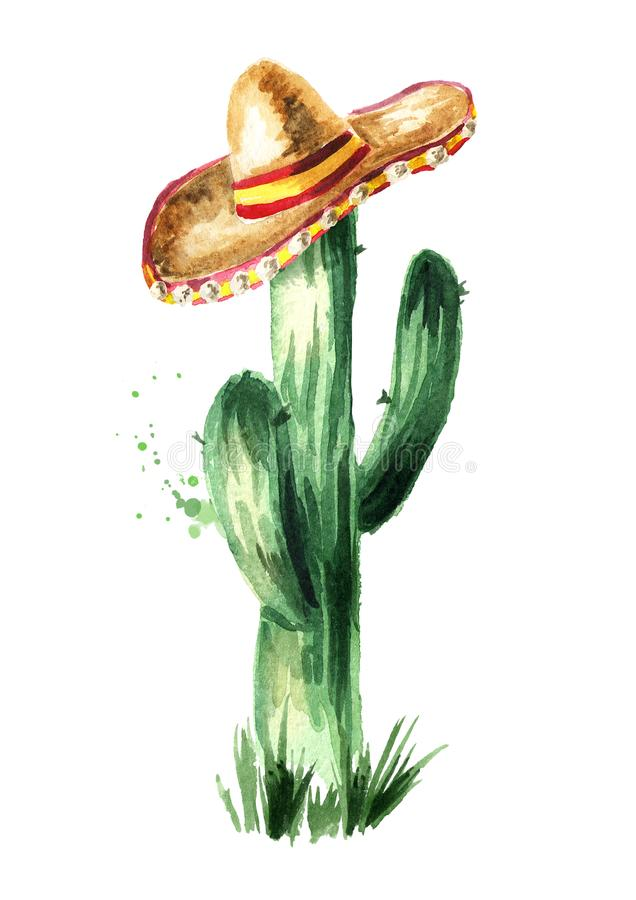 在阔边帽的墨西哥仙人掌 手拉的水彩例证,隔绝在白色背景, 向量例证