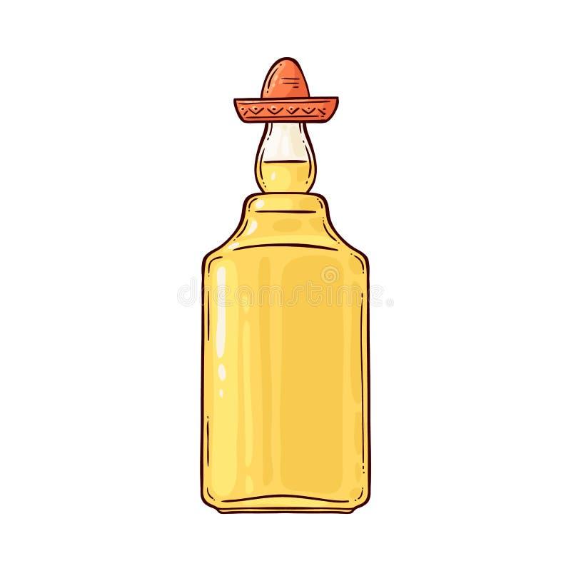 在阔边帽的龙舌兰酒,在瓶的传统酒精墨西哥饮料 库存例证