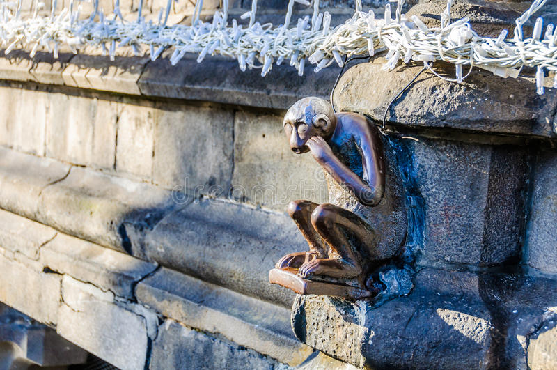 在阜,比利时,文化的资本胡闹雕塑 库存照片