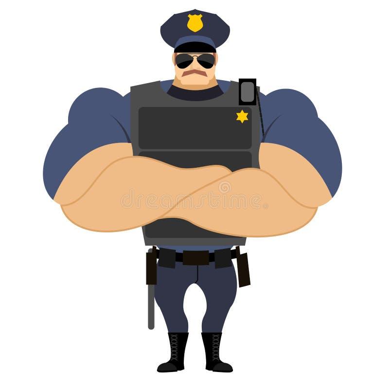 在防弹上衣强有力的警察的警察警察制服的 库存例证
