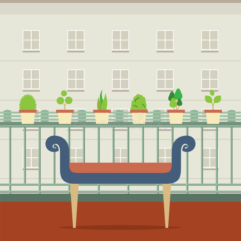 在阳台的空的长凳有盆栽植物的 向量例证