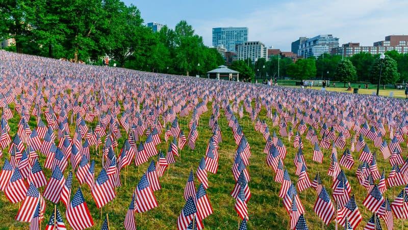 在阵亡将士纪念日周末期间,数千在波士顿公园种植的美国旗子,纪念下落的战士在战争中, 库存图片