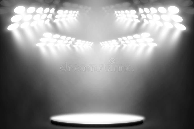 在阶段娱乐背景,白色灯背景的白色聚光灯 库存图片