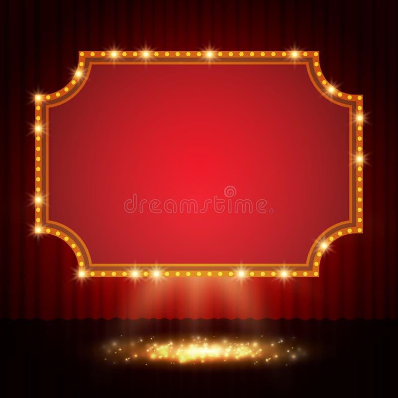 在阶段帷幕的光亮的减速火箭的赌博娱乐场横幅 库存照片