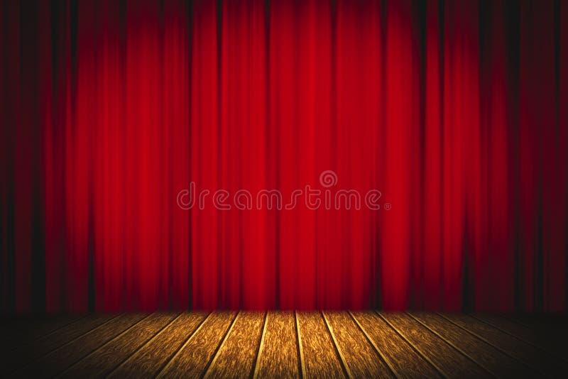 在阶段木地板娱乐背景的剧院红色帷幕,红色帷幕 库存照片