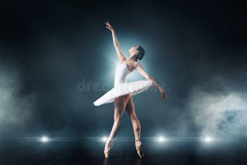 在阶段的跳芭蕾舞者跳舞在剧院 图库摄影