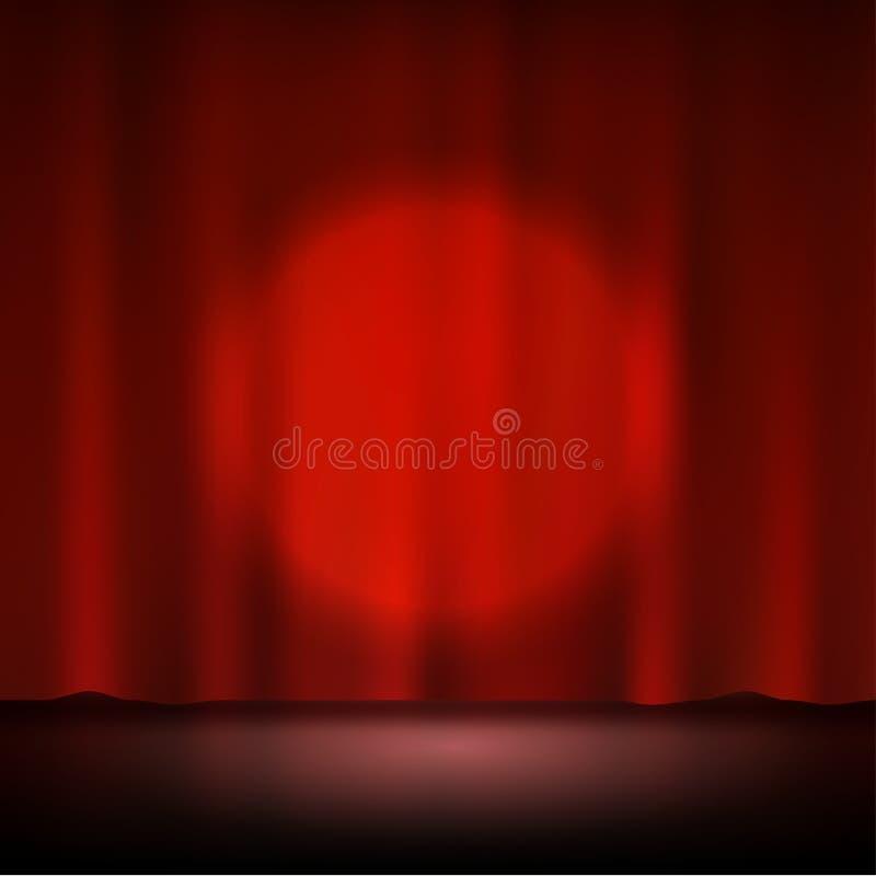 在阶段红色帷幕的聚光灯 库存例证