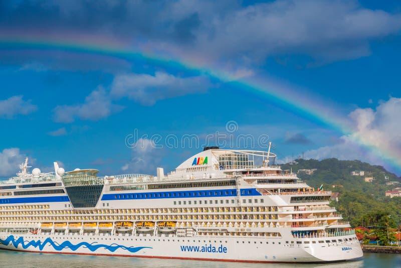 在阿伊达歌剧女主角的彩虹在圣卢西亚 库存照片