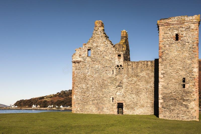 在阿伦岛的Lochranza城堡在苏格兰 免版税图库摄影