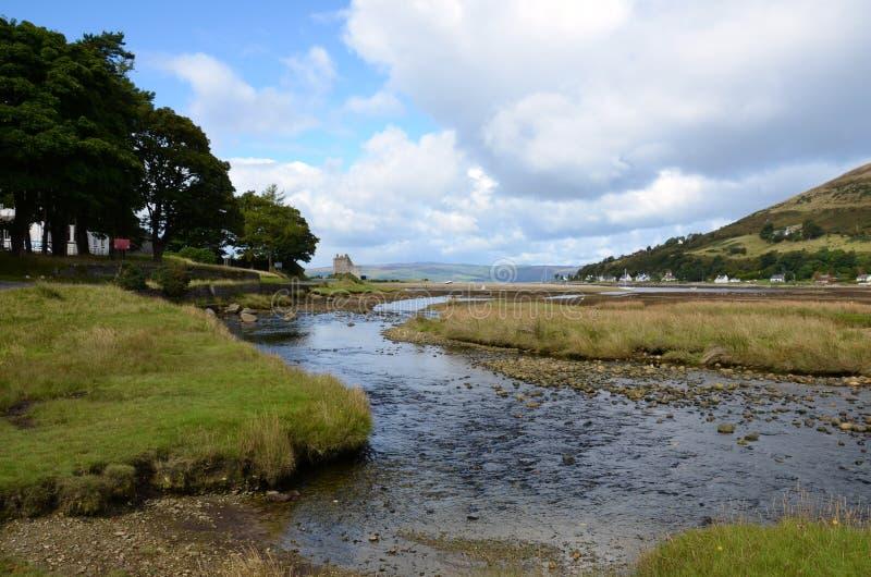 在阿伦岛的Lochranza城堡 免版税库存照片
