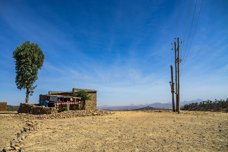 在阿克苏姆-埃塞俄比亚的历史的附近风景 图库摄影