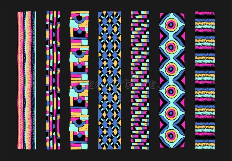 在阿兹台克样式的无缝的几何样式 部族种族传染媒介纹理 破擦声 库存例证