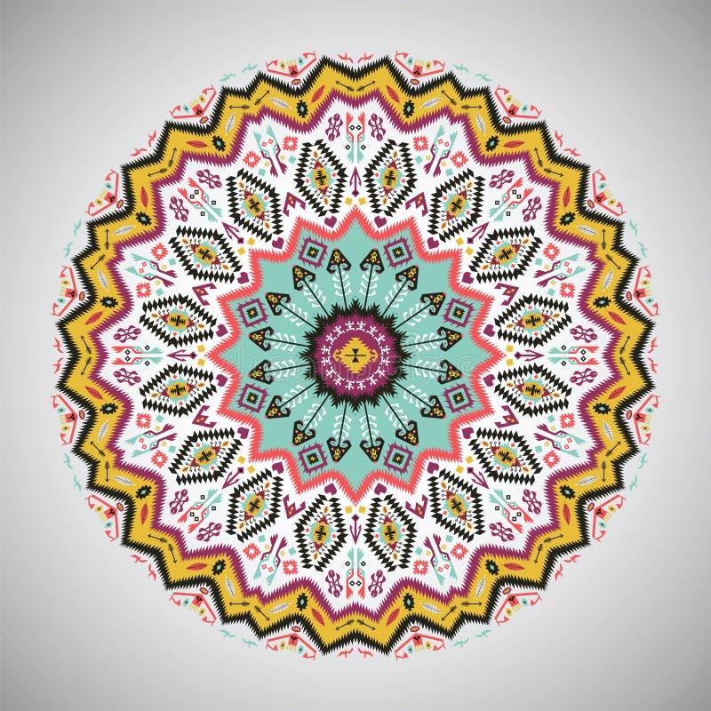 在阿兹台克样式的装饰圆的几何样式 库存例证